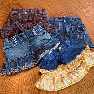 Lot of 5 Baby girl skort/ skirt 12-18 months